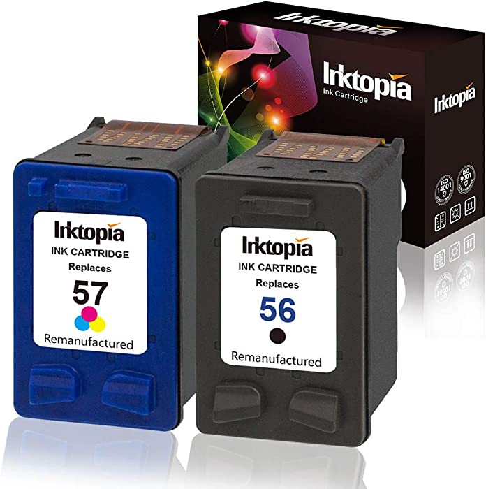 Inktopia Remanufactured Replacement for HP 56 57 Ink Cartridges 1 Black 1 Tri-Color Used for HP Deskjet 5150 5550 5650 5850 Photosmart 7260 7350 7450 7550 7660 7960 Officejet 4215 PSC 1210