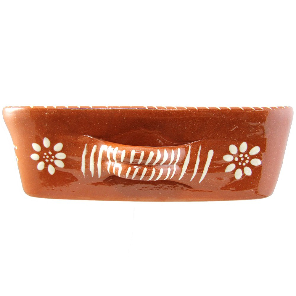 Vintage Portuguese Traditional Clay Terracotta Pottery Roasting Tray Made In Portugal (N.2 13 5/8 x 9 3/4 x 3 1/8'' Inches) by Ceramica Edgar Pinto (Image #3)