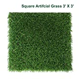 Petgrow Decorative Square Artificial Grass Pet Turf 3FT X 3FT(9 Square FT) Customized Sizes - Indoor Outdoor Garden Lawn Landscape balcony Home Synthetic Turf Mat - Thick Fake Grass Carpet