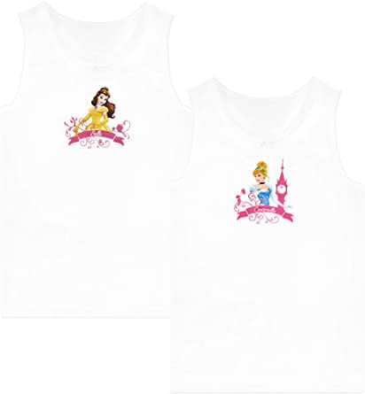 Disney Girls Belle and Cinderella Camisoles Pack of 2 White