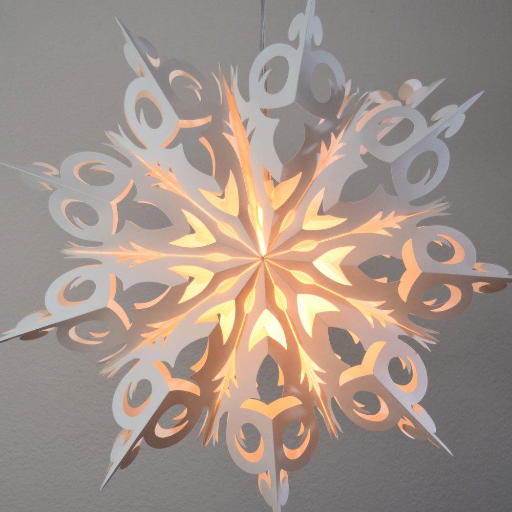 Quasimoon PaperLanternStore.com 24'' White Winter Frozen Snowflake Paper Star Lantern, Hanging Decoration