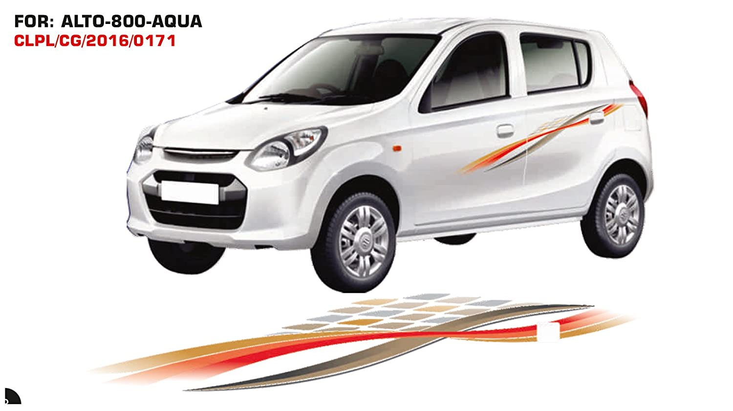 Automaze quara car side decal full body sticker graphics for maruti suzuki alto 0171 gold and orange amazon in car motorbike