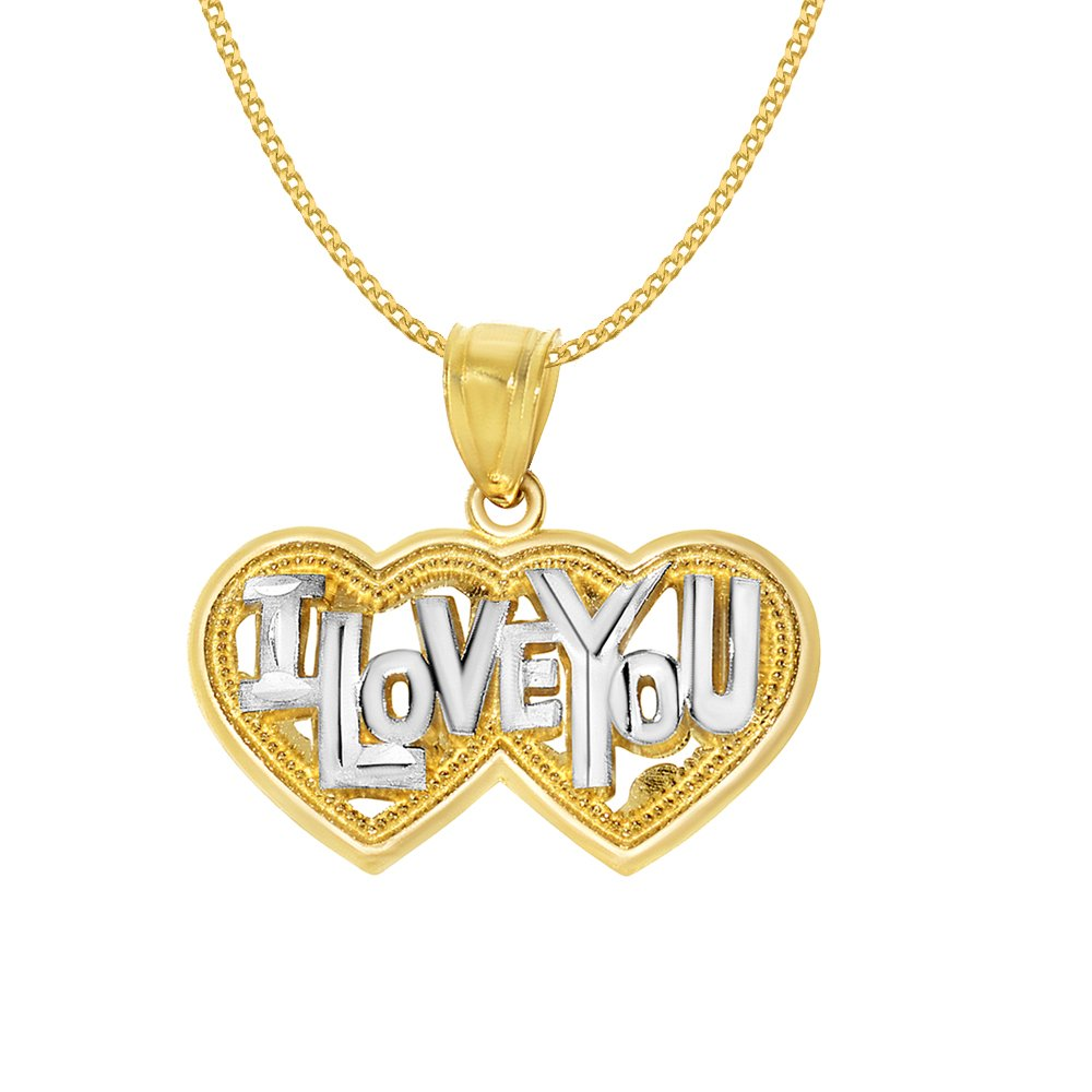 14k Yellow Gold 'I Love You' Double Heart Pendant with 0.8-mm Yellow Gold Square Wheat Chain