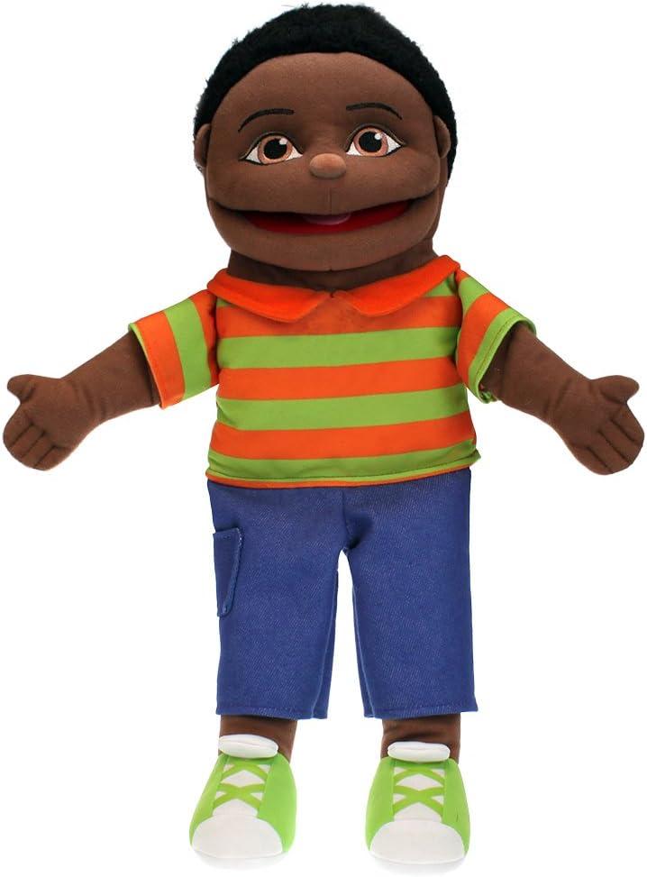 The Puppet Company Small Sized Puppet Buddies Boy Hand Puppet Dark Skin Tone