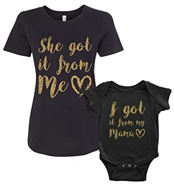 b367ac472 Image Unavailable. Image not available for. Color: Threadrock Got It From My  Mama Infant Bodysuit & Women's T-Shirt Matching Set (