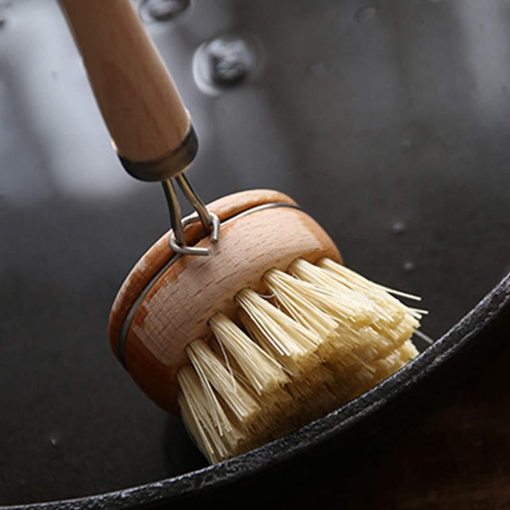 Cuenco de vajilla de mango largo de madera port/átil para limpiar las herramientas de limpieza de cocina de cepillo salero Xineker
