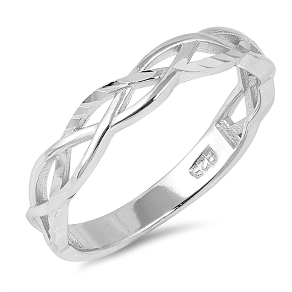 Diamond-Cut Celtic Criss Cross Knot Ring .925 Sterling Silver Band Size 8