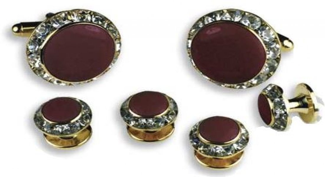 Burgundy Center Austrian Crystal Tuxedo Studs and Cufflinks Gold Trim