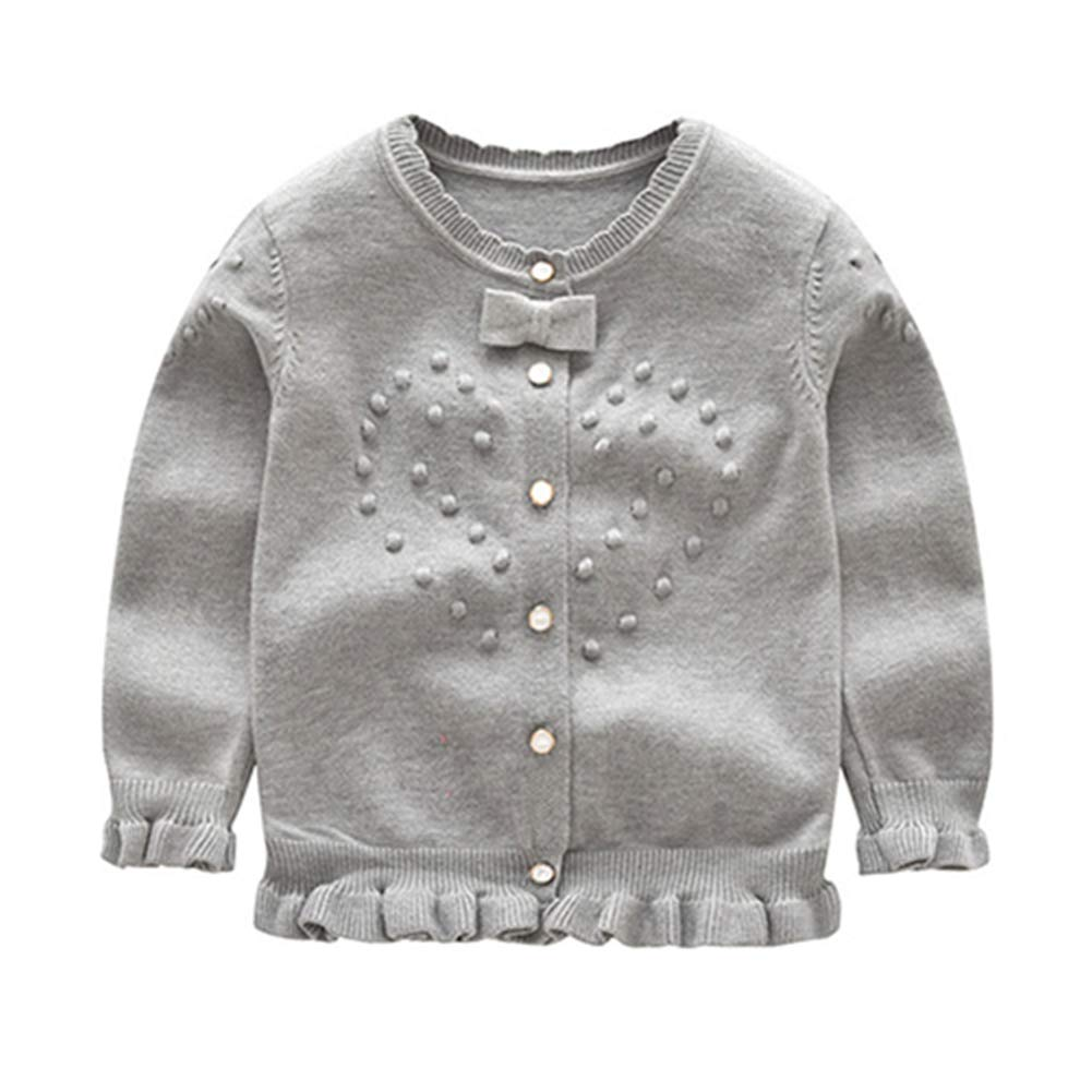 KIMJUN Kid Girls Cardigan Sweater Baby Girls Bow Knot Cable Knit Button up Outwear 8-10t Gray