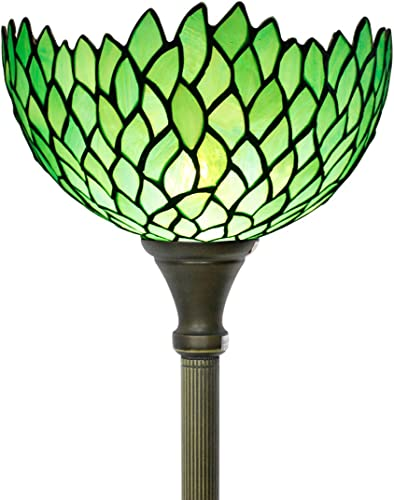 Tiffany Floor Lamp Torchiere Style Up Lighting W12H66 Inch Green Stained Glass Wisteria Lampshade Antique Standing Iron Base 1E26 Foot Switch S523 WERFACTORY Lamps Home Office Decoration Gift
