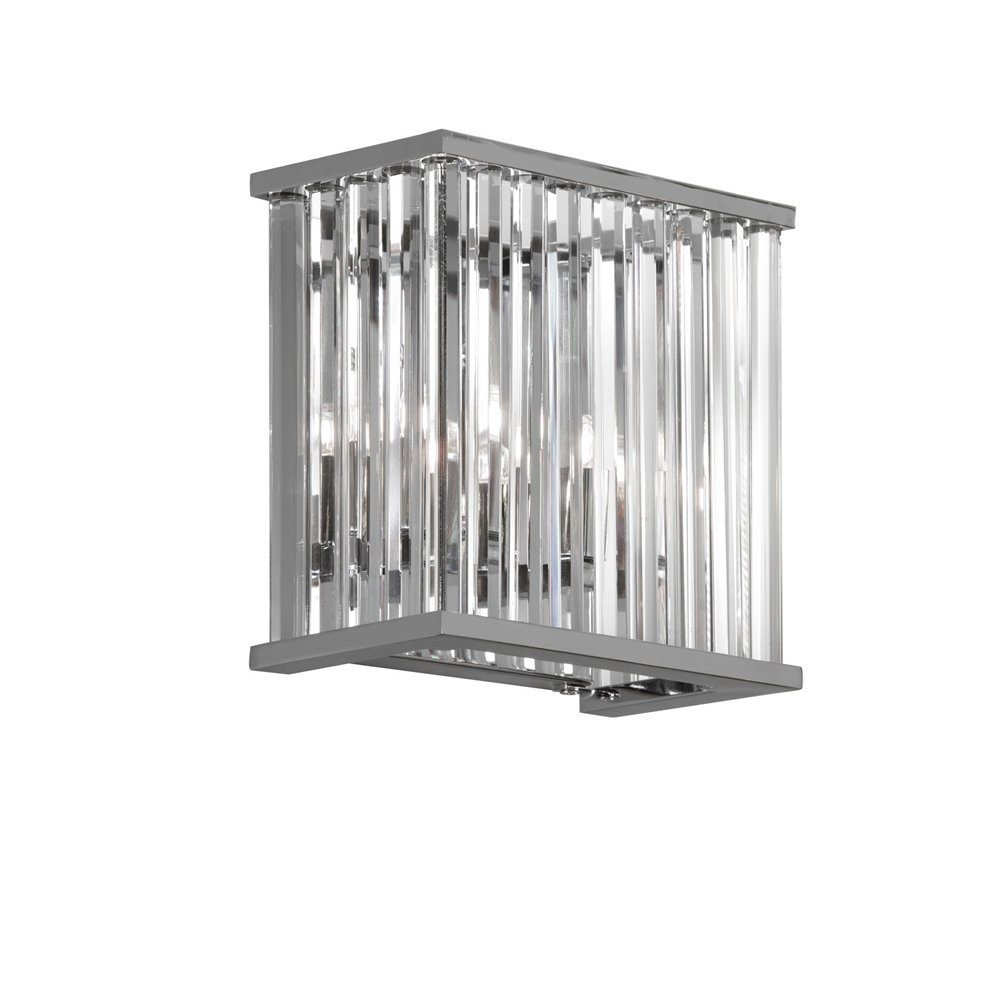 Dainolite Lighting ARU-82W-PC 2-Light Crystal Wall Scone, Polished Chrome Finish