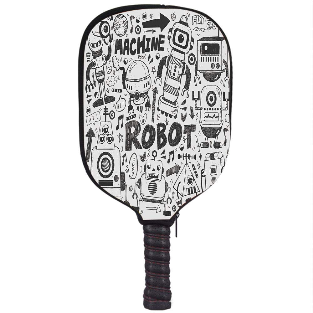 Amazon.com : CANCAKA Neoprene Pickleball Paddle Racket Cover Case, Robot, Futuristic Space Doodle Style Androids Sci Fi Pattern Fantasy Machine Art Print, ...
