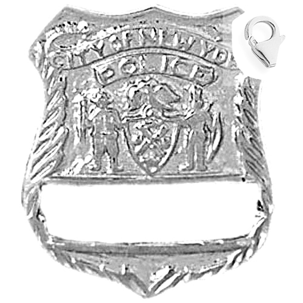 Sterling Silver 25mm New York Police with 7.5 Charm Bracelet Jewels Obsession New York Police Pendant