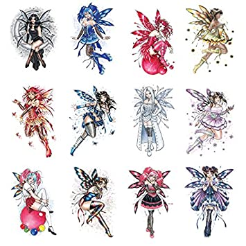 d79aefb9a4151 12 Sexy Glitter Fairy Tattoos Temporary. Twelve Colorful Pink Purple Blue  Red White Girls Wings