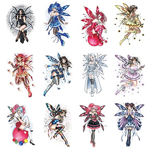 12 Sexy Glitter Fairy Tattoos Temporary. Twelve Colorful Pink Purple Blue Red White Girls Wings, Stocking, Black Boots Body Face Elf Pixie Nymph Dancing Spirit Moon Rainbow Flying Bubbles -