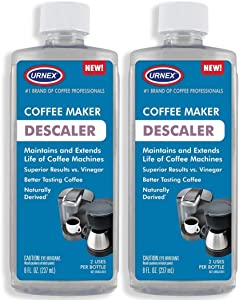 Descaler (2 Pack, 2 Uses Per Bottle) - Universal Descaling Solution for Keurig, Nespresso, Delonghi and All Single Use Coffee and Espresso Machines - Made in the USA