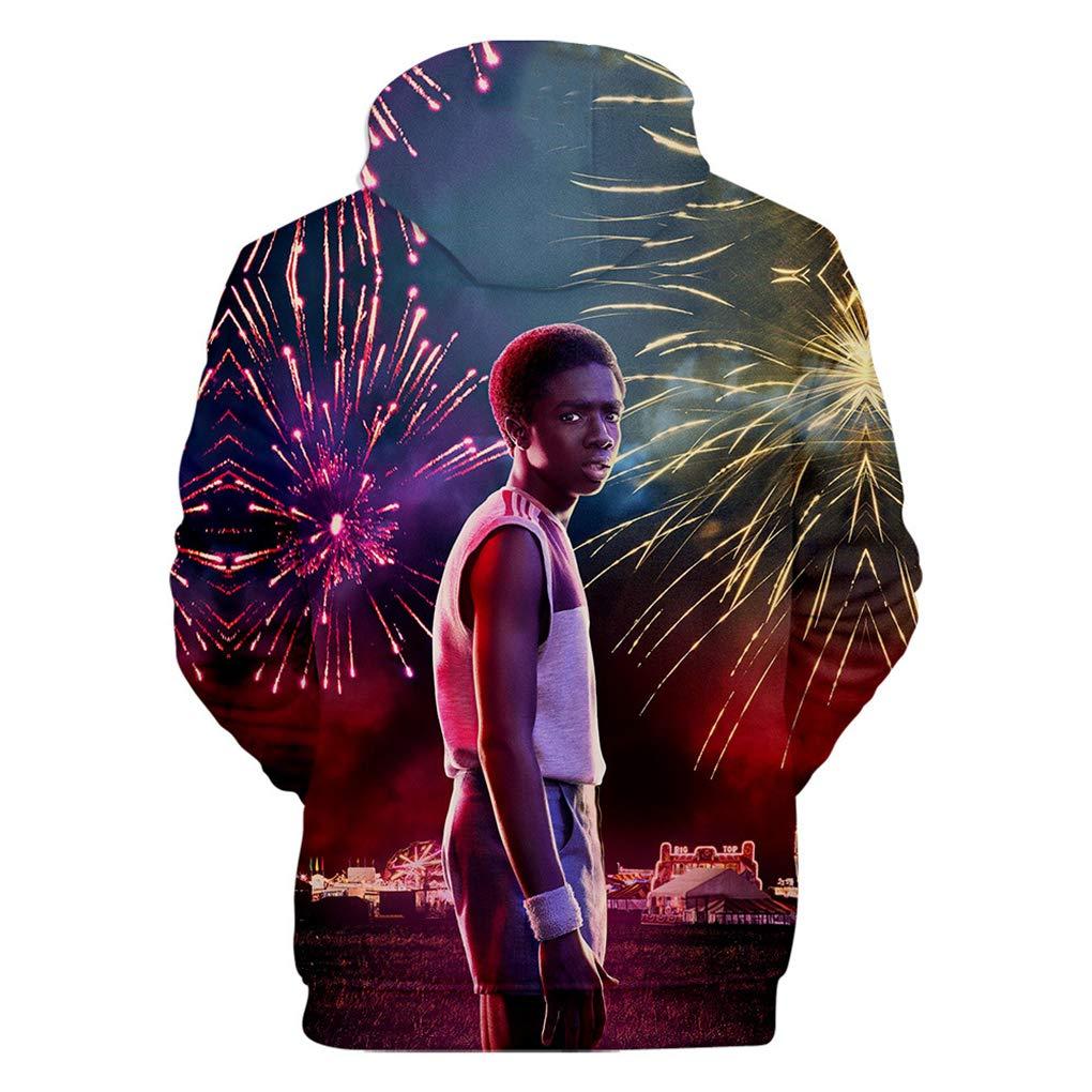 Memoryee Stranger Things 3D Print Hoodie Outdoor Uniform Unisex Pullover Long Sleeves Top Sweatshirt Plus Size Big Pocket Jumper TV Series Gifts