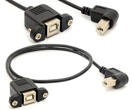 Extensión de la impresora Cable USB 2.0 Adaptador macho a B conexiones hembra de 90 grados zócalo en ángulo recto escáner cordón con tornillo de ...