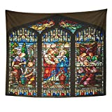 Emvency Tapestry Stained Glass Window of St Paul Episcopal Church Key Home Decor Wall Hanging for Living Room Bedroom Dorm 50x60 Inches