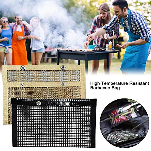 Futureshine Resistant Barbecue Bag,High Temperature Reusable Non-Stick Mesh Grilling Bag for Electric Gas Charcoal Grill…