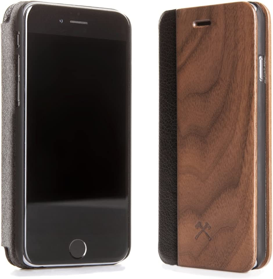 Woodcessories - Case Compatible with iPhone 5/ 5s/ SE of Real Wood, EcoFlip Case (Maple/Black)