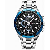 Curren Men Watch Luxury Military Black Case Stainless Steel Waterproof Analog Quartz Watches