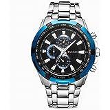 Curren Men Watch Luxury Military Black Case Stainless Steel Waterproof Analog Quartz Watches