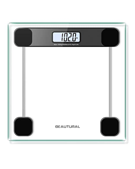 Báscula de baño Beautural de precisión digital con tecnología Step-On, pantalla LCD retroiluminada