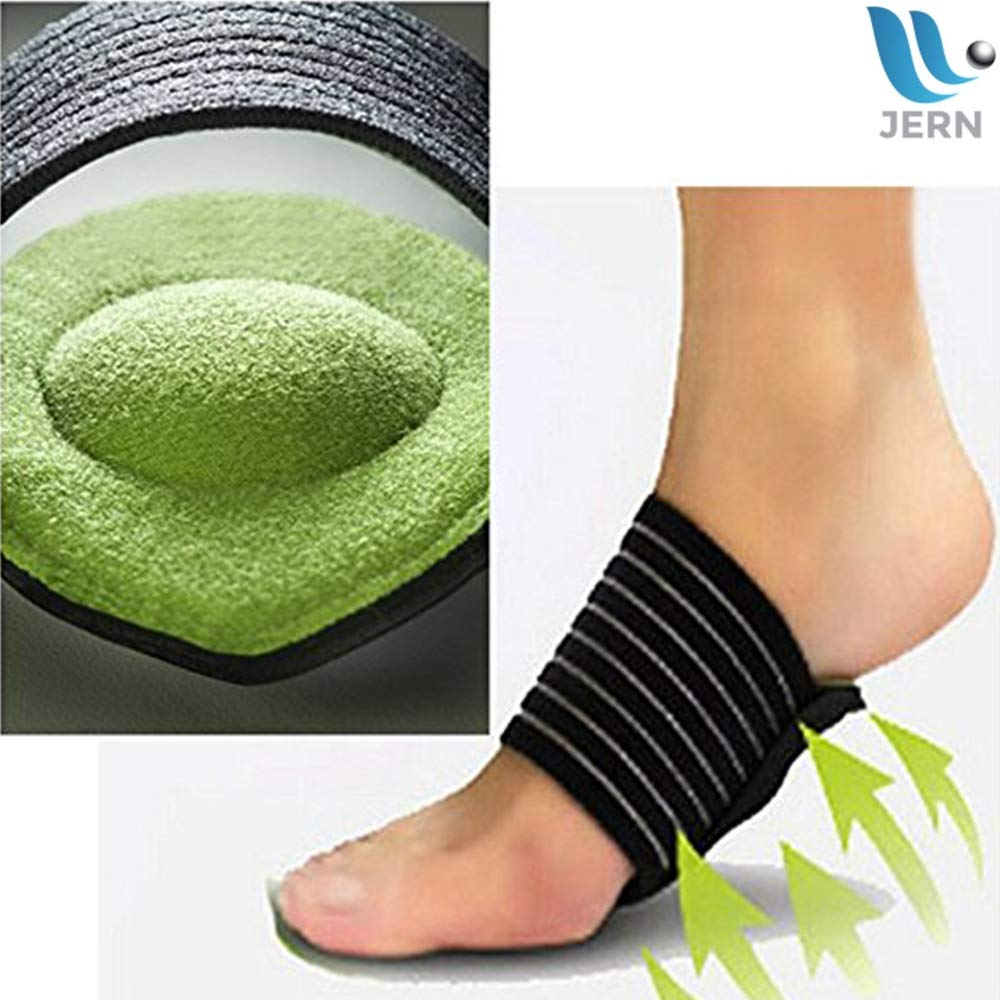 JERN Extra Thick Cushioned Compression Arch Support with More Padded Comfort for Plantar Fasciitis, Fallen Arches, Heel Spurs, Flat Feet and Achy Foot Pain Problems - 1 Pair (for Men and Women)