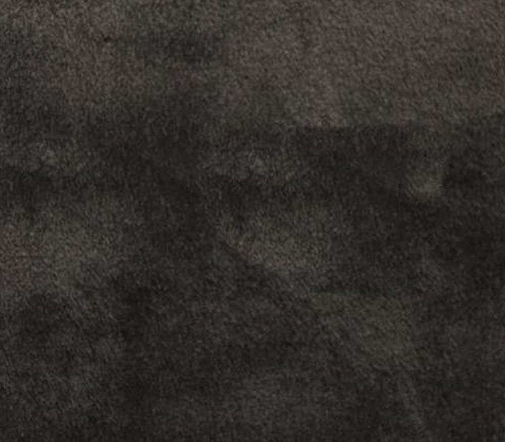 62 Wide//Sold by The Yard Faux Fur Fabric Long Pile Solid Smooth Beaver 02 Black
