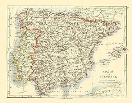Spagna E Isole Baleari Cartina.Spagna E Portogallo Iberia Province Ferrovie Isole Baleari Johnston 1920 Old Antique Mappa Vintage Stampato Mappe Della Spagna Amazon It Casa E Cucina