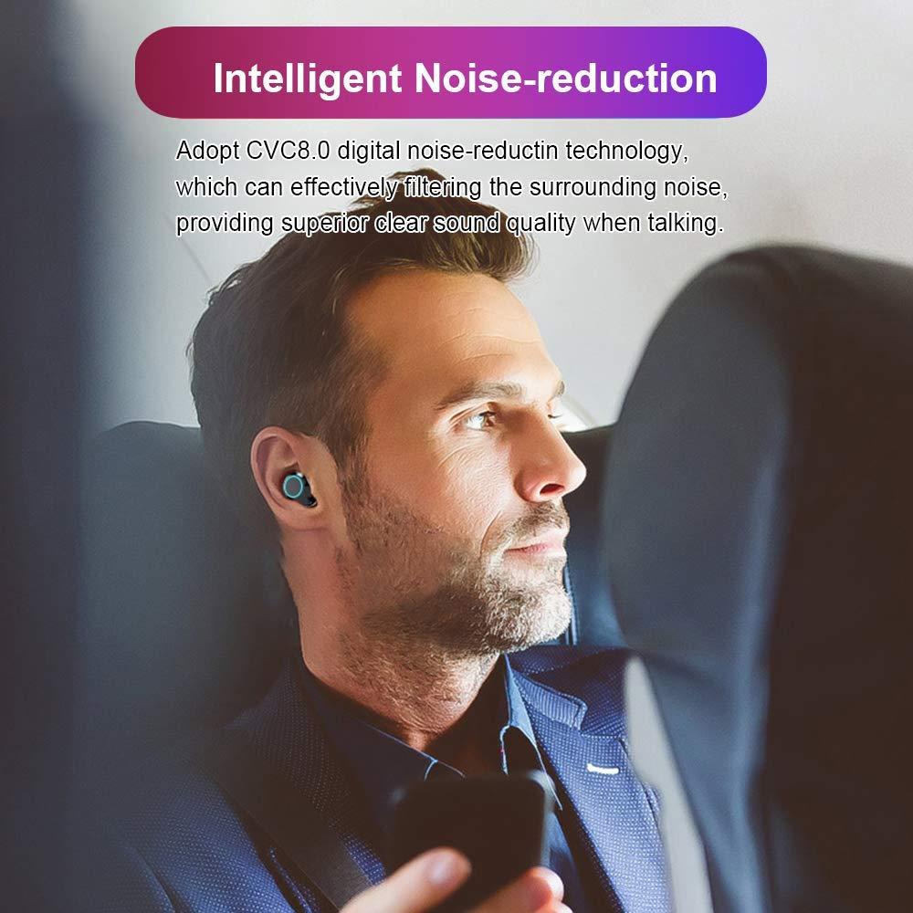 Écouteur Bluetooth 5.0 sans Fil, HAMTOD G02 Oreillettes Sport Étanche IPX6【LCD 100%-0】3300mAh Boîte de Charge CVC 8.0 Casque Stéréo Auto-Appariement, Antibruit Auriculaires, Micro Intégré iOS Android