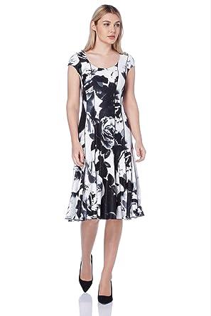 4f1334beb2e Roman Originals Robe Femme ajustée et évasée imprimé Floral - Ivoire ...