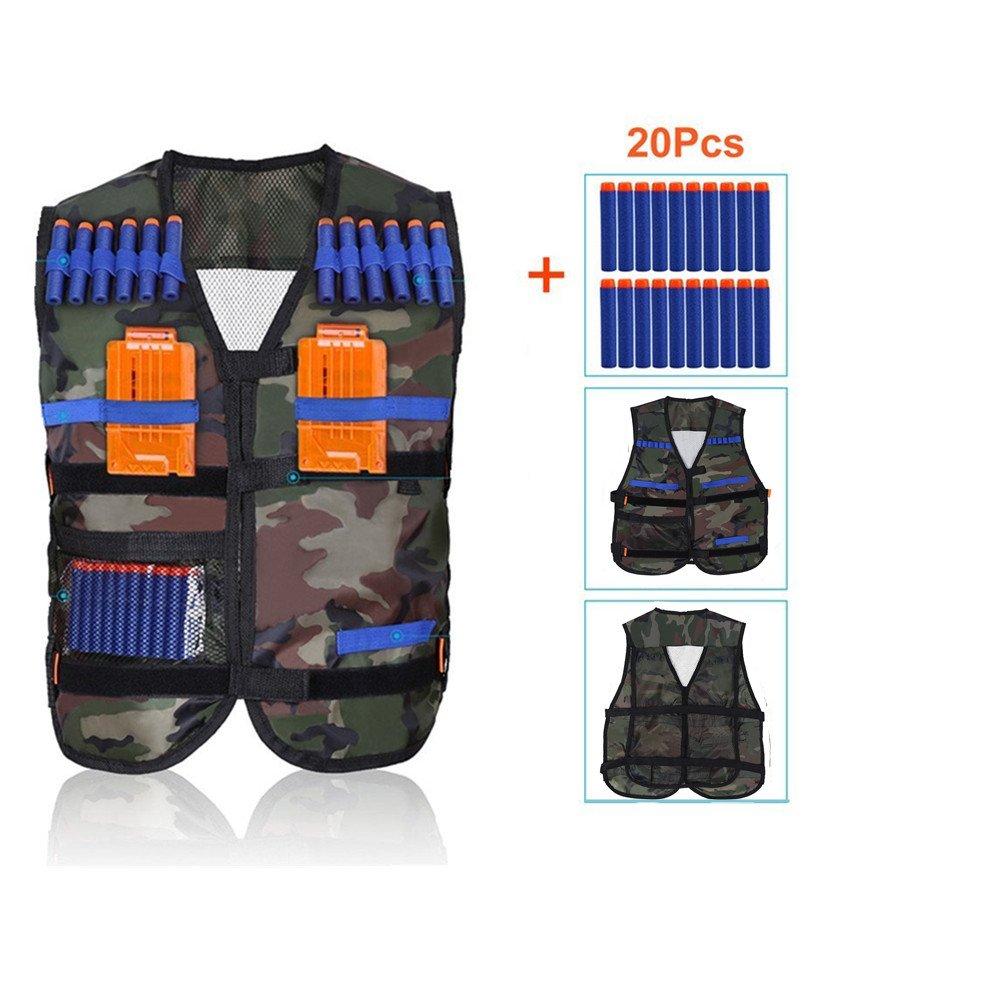 Yosoo Kids Elite Tactical Vest for EvaガンNerf N - Strike Eliteシリーズ B077W2V4L8 Camouflage Vest with 20 Pcs Soft Foam Darts