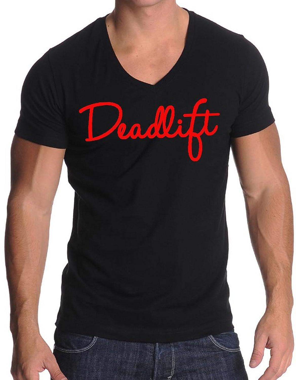 Signature Red Deadlift V255 Men's Black V-Neck T-Shirt Black