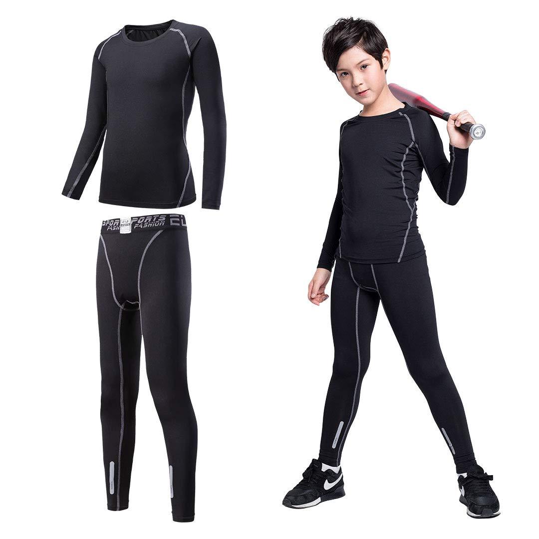 Tesuwel Boys Girls Athlectic Compression Shirts and Pants Base Layer Thermal Underwear Set Running Tights Leggings 2 Pcs
