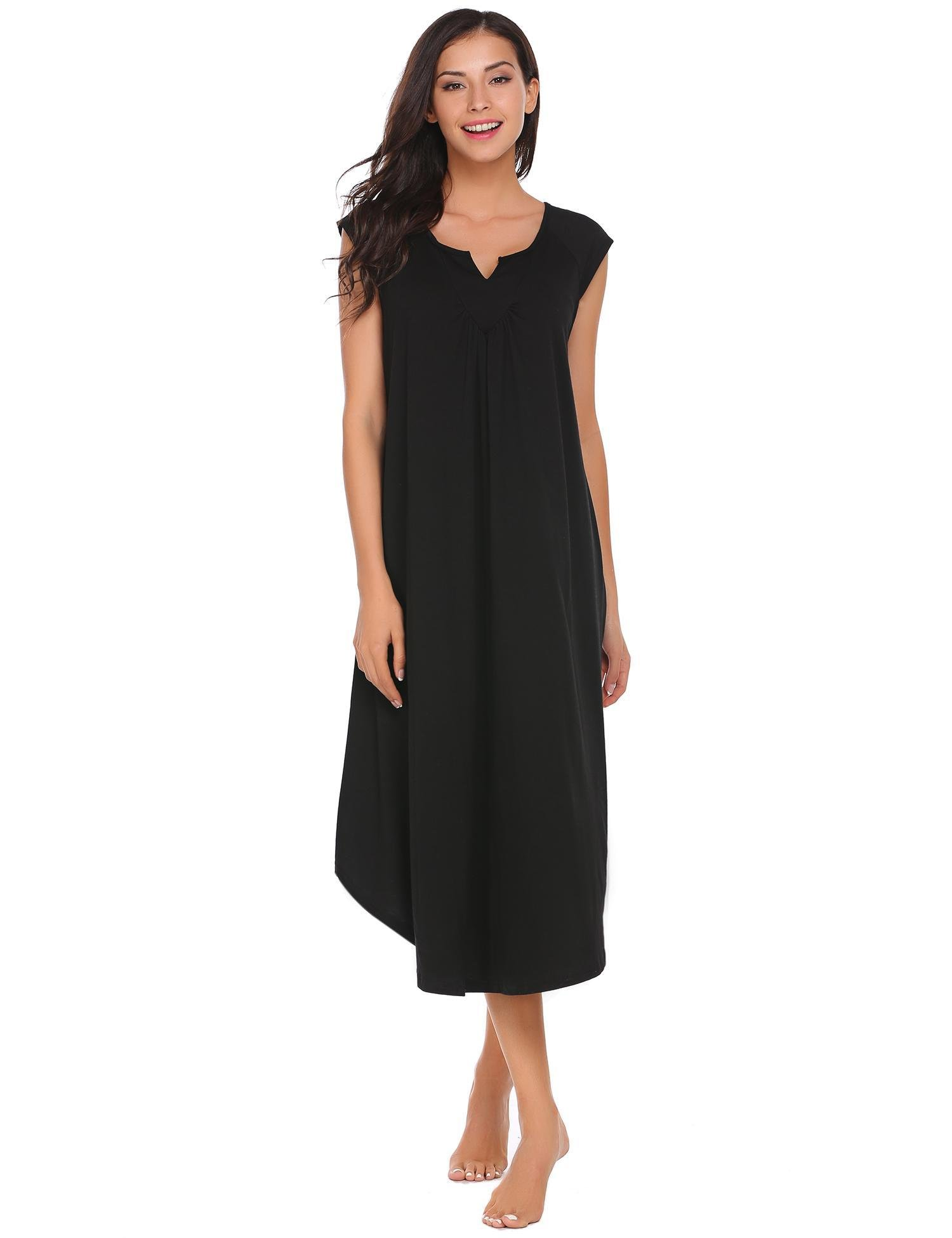 Ekouaer Womens Pajamas Lingerie V Neck Nightwear Sexy Cotton Sleepwear Babydoll Sleep dress, Black,