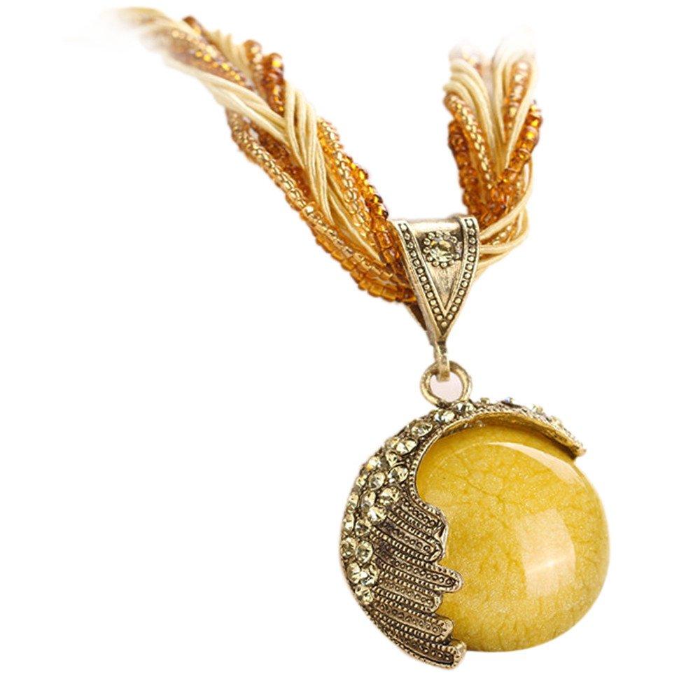 Retro Bohemian Turquoise Stone Pendant Collar Statement Chunky Necklaces for Women Beach (Yellow)