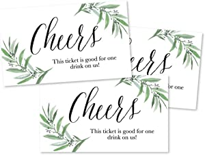 50 Greenery Eucalyptus Drink Ticket Coupons for a Free Drink at Weddings, Work Events or Party Bar, One Free Beer Wine Alcohol Soft Drink or Food Vouchers, Cheers Large Drinking Paper Raffle Cards