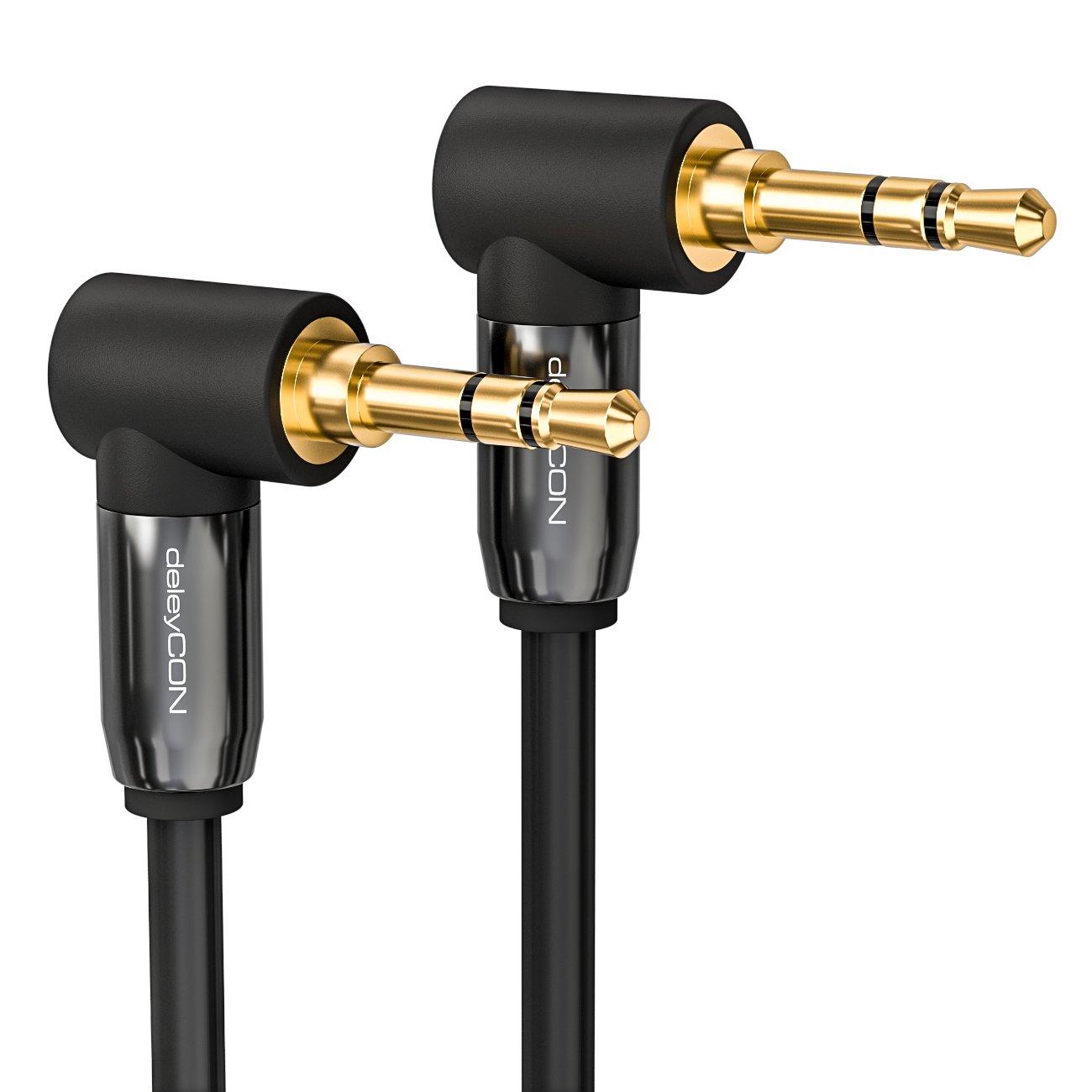 deleyCON 2m Cavo AUX con Jack 3,5mm Cavo Stereo Audio con Uscita Jack ad Angolo 90/° per PC Laptop Mobile Smartphone Tablet Auto HiFi Nero