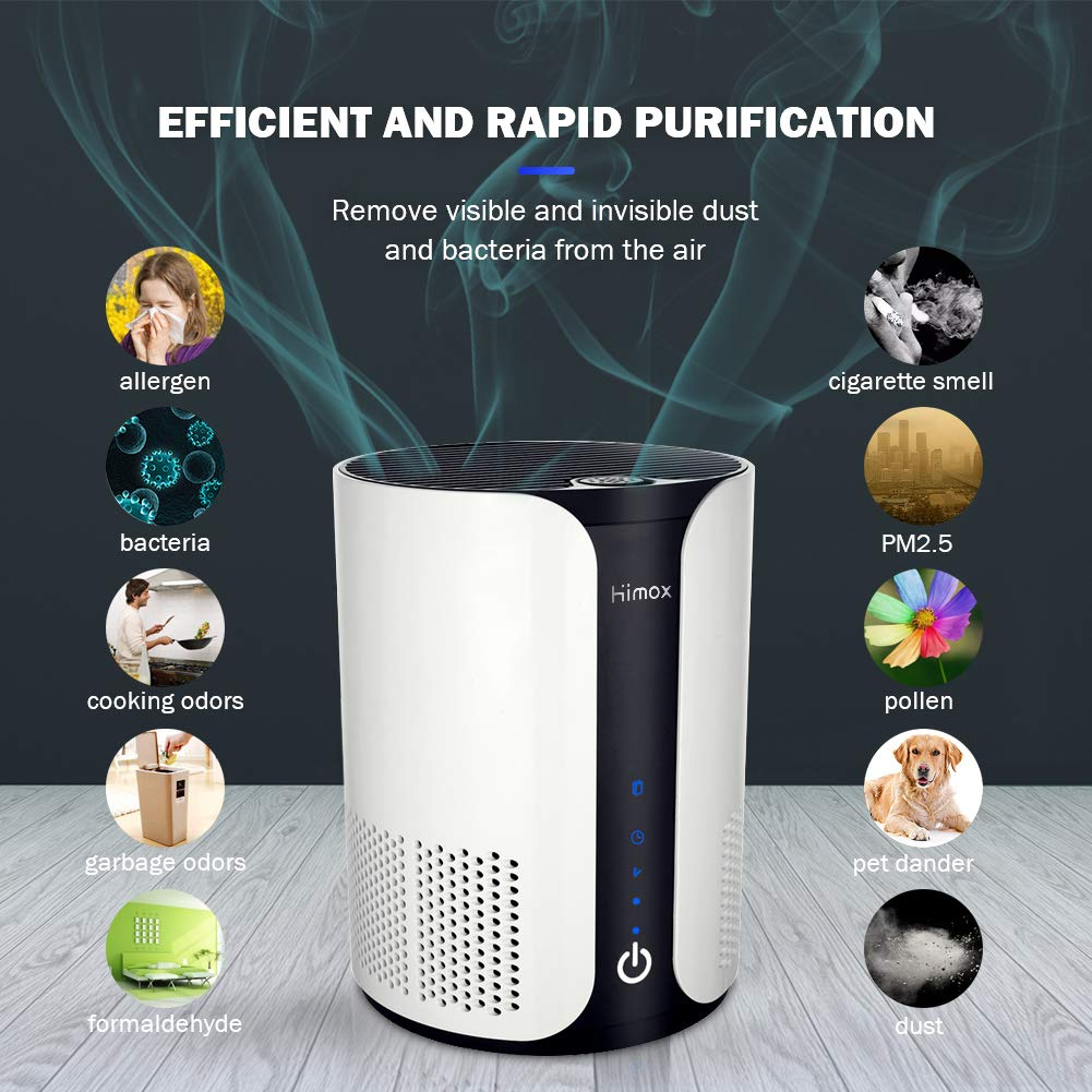 HIMOX Air Purifier 4 in 1 Filtration True HEPA Active Carbon Filter Negative Ions Silent Home Air Cleaner (Air Purifier)