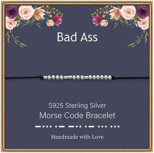 ASELFAD Unique Gifts for Women Sterling Silver Morse Code Bracelets on Card Fun Jewelry Gift for Her