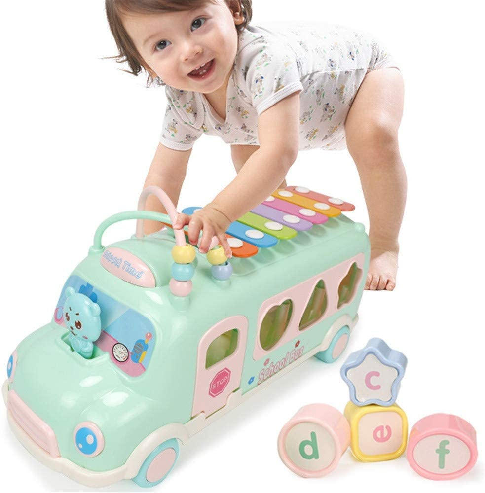 Wooden Toys Baby Knock On Piano Rainbow Color Cartoon Early Educational Toy NB