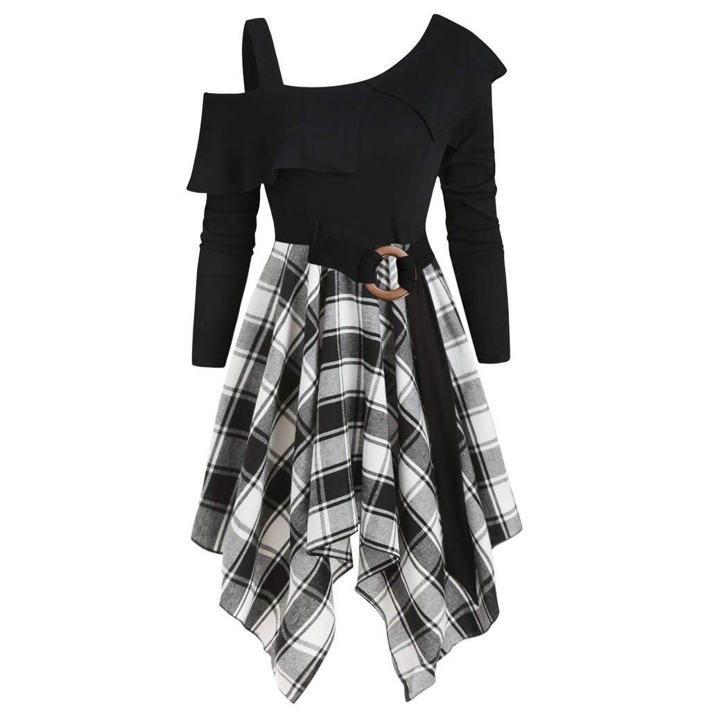 GOKOMO Halloween Damen Plus Size Kariertes Taschentuchkleid mit schr/ägem Ausschnitt und G/ürtel