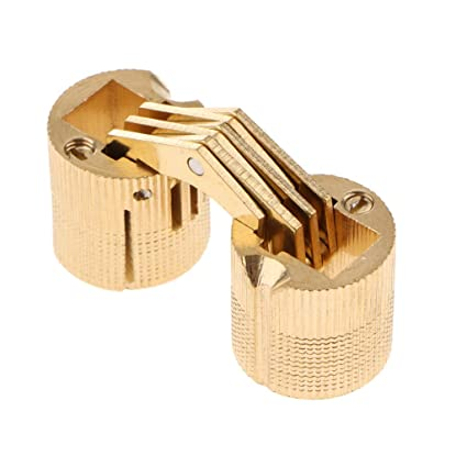 Cerniera a barilotto di rame oro 4 pezzi//confezione con pesante strumento di cerniera a scomparsa invisibile in ottone con angolo di apertura 180 /°