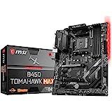MSI B450 Tomahawk MAX Motherboard ATX, AM4, DDR4, LAN, USB 3.2 Gen2, Type-C, M.2, RGB Mystic Light Sync, HDMI, DVI-D…