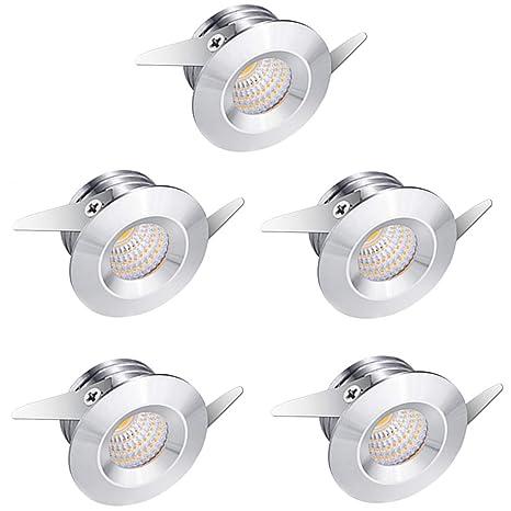 Mini Faretti A Led Da Incasso.Midore 5 Mini Faretti Da Incasso A Led In Alluminio Con Luce Bianca Calda Da 3 W