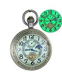 OGLE Waterproof Luminous Bronze Magnifier Tourbillon Phases Moon Pendant Necklace Chain Fob Automatic Mechanical Pocket Watch