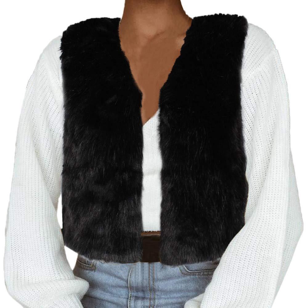 Redbrowm Women Warm Jacket Soft Outwear Fleece Coat Lady Outerwear Luxurious Vest