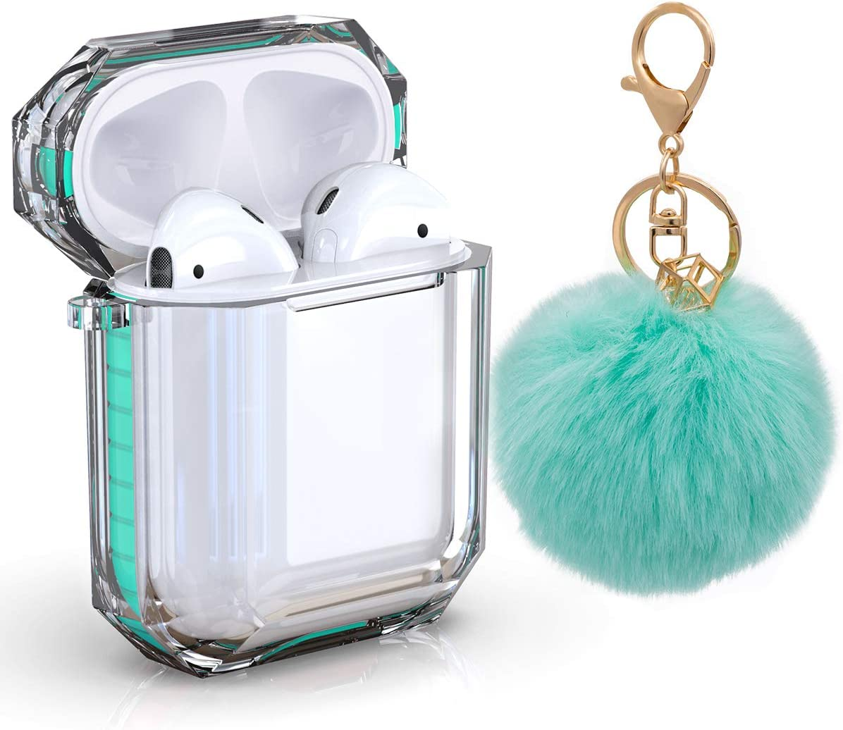 AirPods Case Cover, Zora Shockproof Protective Soft TPU Clear Apple Air Pods 1&2 Cover Case (Front LED Visible) Headphone Case with Cute Fur Ball Anti-Lost Keychain for Girls (Airpods 1, Mint Green)